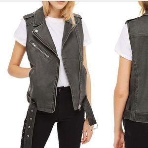Top shop faux leather vest size 4